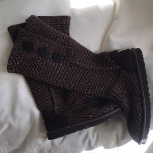 💕👢💕 UGG Button Cardi Boots Brown & Gold
